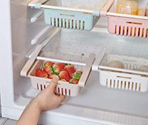 Excefore Adjustable Fridge Storage Rack Refrigerator Partition Layer Organizer Fridge Drawer Organiser