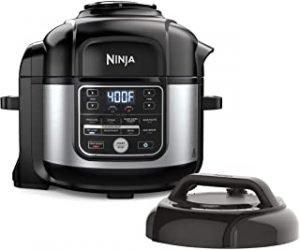 Ninja FD401 Foodi 8-qt. 9-in-1 Deluxe XL Cooker & Air Fryer-Stainless Steel Pressure Cooker 6.5-Quart Capacity OS301