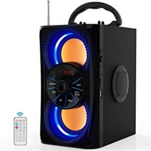 Portable Bluetooth Speakers Subwoofer Heavy Bass Wireless Outdoor/Indoor Party Speaker Line in Speakers Support Remote Control FM Radio TF Card LCD Display for Home Party Phone