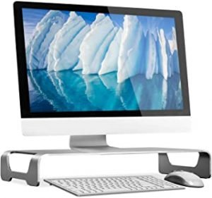 Mount-It! Aluminum Monitor Stand For iMac - Wide Unibody Monitor Riser - Metal Monitor Stand Desktop Organizer With Keyboard Storage - Universal Desktop Monitor Riser for PC