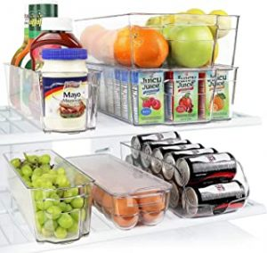 6 Piece Refrigerator and Freezer Stackable Storage Organizer Bins with Handles