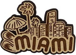 Miami Wood Engraved Fridge Magnet Souvenir Gift