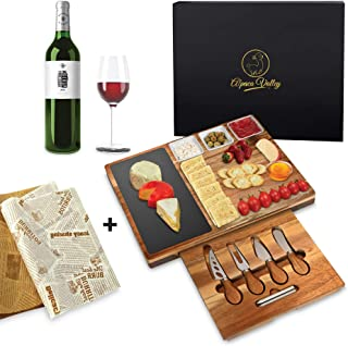 Large Cheese Board Set 39 cms x 30 cms Acacia Wood Charcuterie with Cheese Knives Set Slate Platter Cheese Papers and Gift Box Perfect for Wedding