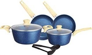 INSIYA Granite/Marble Coated Aluminium Non Stick 8-piece Premium Cookware Set Blue