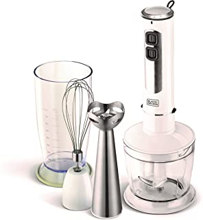 Black+Decker 400W 4 in 1 Stainless Steel Stem Hand Blender with Chopper and Whisk