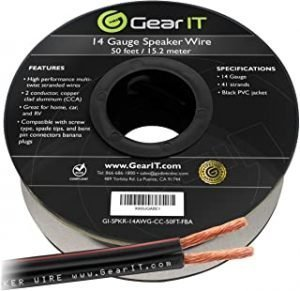 GearIT 14Awg Speaker Wire Pro Series 14 Awg Gauge Speaker Wire Cable Great Use For Home Theater Speakers And Car Speakers 50 Feet Black
