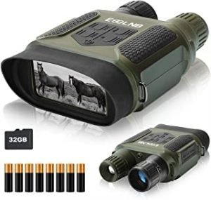 """ESSLNB Night Vision Binoculars 400m/1300ft for 100% Full Darkness 7x31mm Night Vision Goggles with 32G TF Card and Photos Videos Recorder Function 2"""" LCD Infrared Binoculars with Night Vision"""