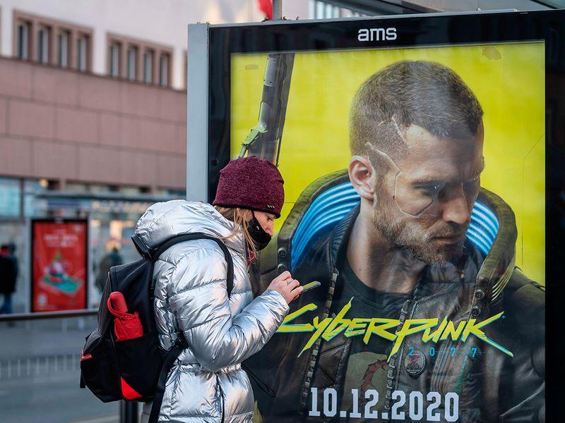 An advertisment of Cyberpunk 2077 game is seen on December 4