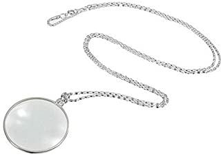 ZUQIEE Decorative Monocle Necklace With 5x Magnifier Magnifying Glass Pendant Gold Silver Plated Chain Necklace For Women Jewelry (Color : Silver)