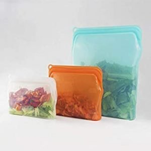 3 in 1 Storage Bag Self-sealing Reusable Silicone | FDA Approved Food Grade Plastic Free Lunch Bag | Cook