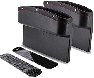 2pcs Car Seat Pockets PU Leather Car Console Side Organizer Seat Gap Filler Catch Caddy With Non-Slip Mat 9.2x6.5x2.1 inch Black (2pcs)