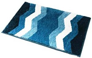Wave Pattern Bathroom Mats Bathroom Rugs Carpet Absorbent Door Mat Blue
