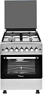 Super General 4-Burner freestanding Gas-Cooker SGC67FS/ Automatic Ignition/ Rotisserie/ Top-Lid/ Silver