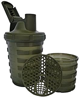 Grenade Shaker Bottle | Protein Cup with Storage Compartment | Leak Proof Strainer Included | BPA Free Sports Bottle | Pill Slots | Army Green