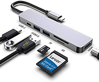 ALOK USB C Hubs 6 in 1 USB Hubs Type C Hubs Adapter to HDMI 4K with 2 USB3.0 Ports SD/TF Card Reader 87W PD Power Delivery Aluminum Compatible for MacBook Pro/Air and Type C Smartphones OTG BX6A Gray