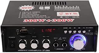 12V/ 220V Mini 2CH LCD Display HIFI Audio Stereo Power Amplifier BT FM Radio Portable Car Home 600W Remote Control Audio Amplifier