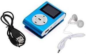 Mini Blue USB Clip MP3 Player Bundle Headset LCD Screen Support 32GB Micro SD TF Card