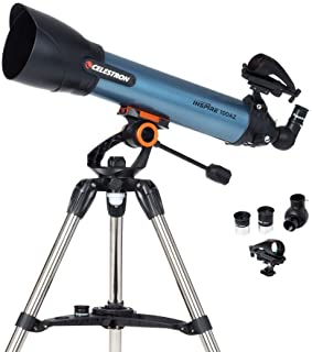 Celestron 22403 Inspire 100AZ Refractor Smartphone Adapter Built-In Refracting Telescope - Blue