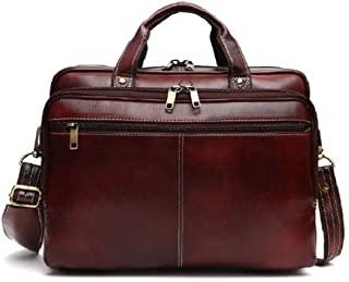 Leather Messenger Briefcase Laptop Bag - 14 Inch Handmade For Men & Women Cross Over Shoulder Strap - Travel Business Office Work Document Holder By OMAX