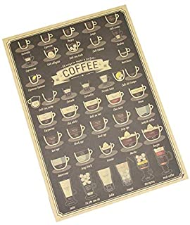 1Pc Different Coffee Cup Cafe Wall Sticker Living Room Poster Coffee Shop Decals Accessories Kraft Paper BAR Brown Paper