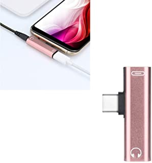 UKCOCO UKCOCO 3.5mm to Type-C Headphone Adapter 2 in 1 Charging Audio Stereo Headphone Converter for Type-C Smart Phone (Rose Gold)