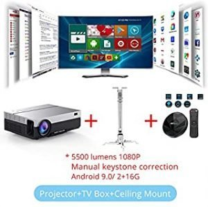 projector full hd - Touyinger T26L Native 1080p LED full HD Projector Video beamer 5500 Lumen FHD Home cinema HDMI (Android 9.0 wifi AC3 optional) (T26L CM TV BOX)