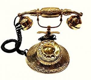 Antique Warehouse Vintage Desk Décor Landline Beautifully Crafted Victoria British Phone Rotary Dial Working Brass Made Corded Maharaja Telephone A4TP 017