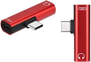 UKCOCO UKCOCO 3.5mm to Type-C Headphone Adapter 2 in 1 Charging Audio Stereo Headphone Converter for Type-C Smart Phone (Red)
