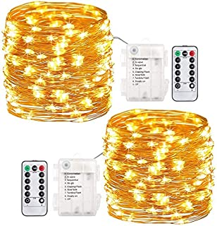 Pack of 2Pcs 33ft 100 LEDs Outdoor String Lights Battery Operated Fairy Lights 8 Mode Waterproof Copper Wire Lights for Bedroom