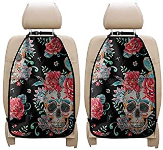 ZERODATE Rose Floral Skull Car Seat Back Protector Keep Interior from Dirty