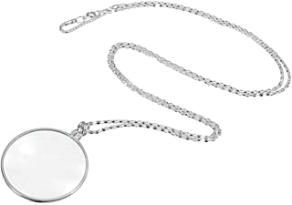 YISUNF Magnifying Glass Decorative Monocle Necklace With 5X Magnifier Magnifying Glass Pendant Gold Silver Plated Chain Necklace For Women Jewelry (Color : Silver 5X Magnifier)