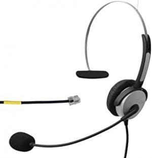 Voistek Voistek Corded Mono Monaural Call Center Telephone RJ Headset Noise Cancelling Headphone with Mic Comfort Fit for Avaya 1608 9611 Panasonic KX-T Yealink T20 Cisco 7902 Snom 300 IP Phones (H10D