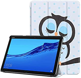 SKEIDO The owl PU Leather Case Cover 10.1 Inch Slim Print Smart Tablet PC Funda For Huawei MediaPad M5 Lite 10 Shockproof Skin