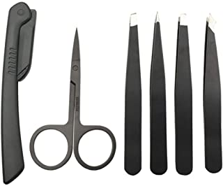 FRCOLOR 6Pcs Eyebrow Grooming Kit Stainless Steel Eyebrow Shaper Scissors Shaver Trimmer Travel Makeup Grooming Tools for Salon Beauty
