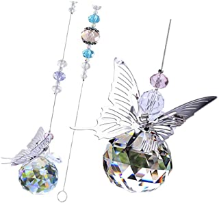 ROSENICE Crystal Beads Car Pendant Butterfly Lucky Hanging Ornament Car Interior Decoration Car Accessories Home Decor