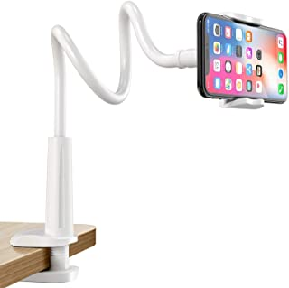"""TyCom Phone Holder 360 Adjustable Lazy Holder Mount Clamp with Sturdy Aluminum Alloy Arm for New iPhone11 11 Pro iPhone X 8 8plus Samsung Huawei all 4""""-6.5"""" Phone (white)"""