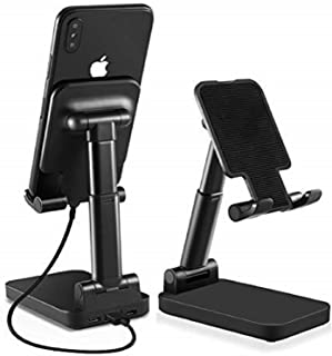 Pillarmax Phone Stand for Desk 2-in-1 phone/Tablet Holder with 5000 mAh USB Power Bank Adjustable Height and Angle Desk Mount Phone Holder Compatible with iPhone Samsung iPad Tablet (Black)