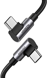 UGREEN USB C to C Cable 100W 5A PD Fast Charge Type C 90 Degree Both Right Angle Power Data Cord Compatible For MacBook Pro Air/iPad Pro 2020/Samsung S20/Huawei P30 Lenovo ThinkPad Dell XPS HP -1Meter