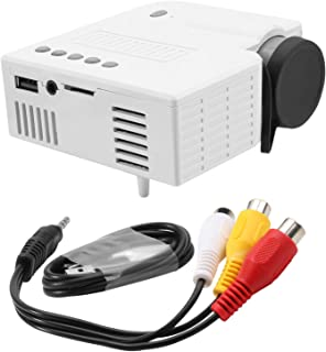 FRCOLOR Mini Wired Projector UC28C Phone Connecting Micro Projector Media Video Player For Home Room Office Travel White