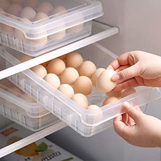 SHIMOYAMA Storage Containers with Egg Holder Food Containers with Lid Refrigerator Stackable Portable Holds up to 18 eggs 1 unit