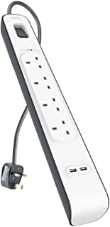 Belkin 4-Way Surge Protection Strip with 2 Meters cord length - Heavy Duty Electrical Extension Socket with 2 x 2.4 A Shared USB Ports