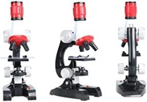 Kids Science Microscope Set Children Educational Toys with LED 100X 400x 1200x Magnification Gift for Microscope Beginner