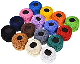 16 Colors Crochet Cotton Yarn Balls Cross Stitch Needlepoint Hand Embroidery Knitting Threads solid color