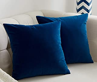 JSBYY Velvet Throw Pillow Covers Solid Color Decorative Square Soft Cushion Cases 18x18 or 12x20 Inch Set of 2 18x18 Blue