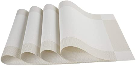 Placemats Vinyl Dining Table Rectangle Placemats Table Mat Set of 4 PVC Insulation Non-Slip Insulation Pad Home Tableware Accessories White