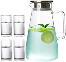 Cold Water Pot Set 5 Pcs Large Capacity Cold Resistant Glass Tea Juice Kettle Bottle Heatable Water Pots with 4 Cups 1500ml