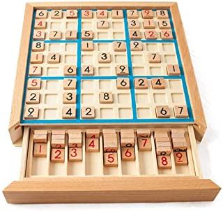 Mumoo Bear Wooden Sudoku Puzzle Board Wood Sudoku Game Set with Drawer Math Brain Teaser Desktop Toys