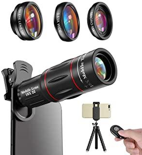 Apexel Phone Photography Kit-Flexible Phone Tripod +Remote Shutter +4 in 1 Lens Kit-High Power 18X Monocular Telephoto Lens