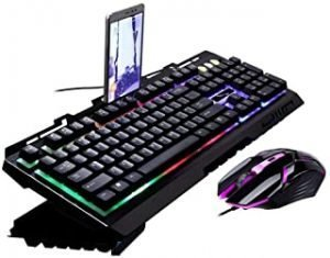 G700 Game Luminous Wired USB Mouse and Keyboard Suit With Rainbow Backlight LED Lights Mechanical Keyboard Gaming Mouse (S-Black)