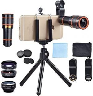 Apexel 4 in 1 12x Zoom Telephoto Lens + Fisheye + Wide Angle + Macro Lens with Phone Holder + Tripod for iPhone X/8/7 /6/6s plus SE Samsung HTC Google Huawei LG Ipad Tablet PC Laptops